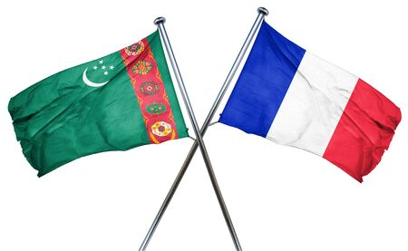 amity: Turkmenistan flag combined with france flag Stock Photo