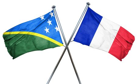 treaty: Solomon islands flag combined with france flag Stock Photo