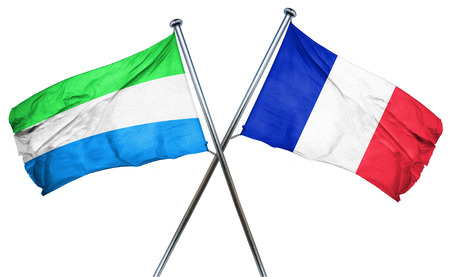 sierra leone: Sierra Leone flag combined with france flag Stock Photo