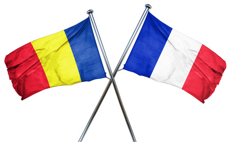amity: Romania flag combined with france flag Stock Photo