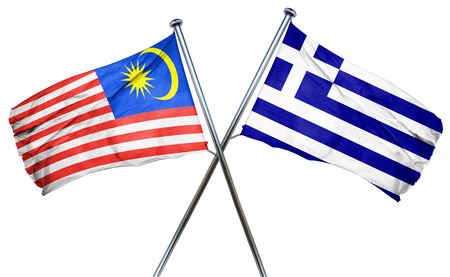 greek flag: Malaysia flag combined with greek flag Stock Photo