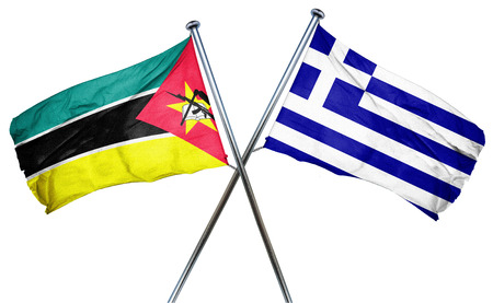 isolation backdrop: Mozambique flag combined with greek flag