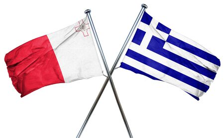 combined: Malta flag combined with greek flag
