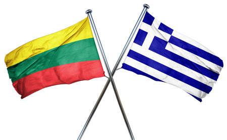 greek flag: Lithuania flag combined with greek flag Stock Photo