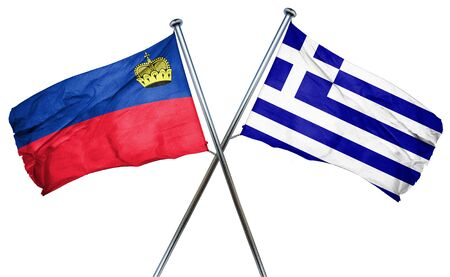 isolation backdrop: Liechtenstein flag combined with greek flag