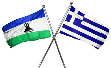 treaty: Lesotho flag combined with greek flag