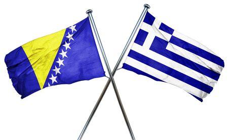 greek flag: Bosnia and Herzegovina flag combined with greek flag Stock Photo