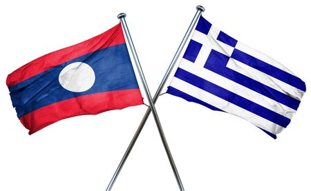 greek flag: Laos flag combined with greek flag Stock Photo
