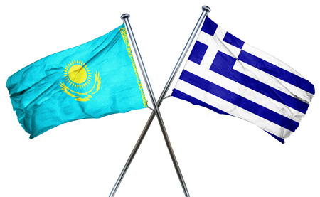 treaty: Kazakhstan flag combined with greek flag