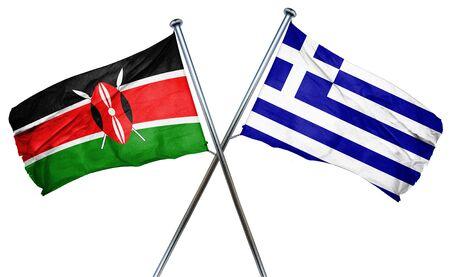 greek flag: Kenya flag combined with greek flag Stock Photo
