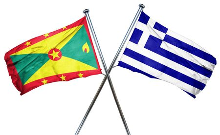greek flag: Grenada flag combined with greek flag Stock Photo
