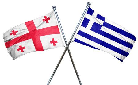 isolation backdrop: Georgia flag combined with greek flag Stock Photo