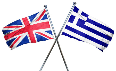 england politics: Great britain flag combined with greek flag