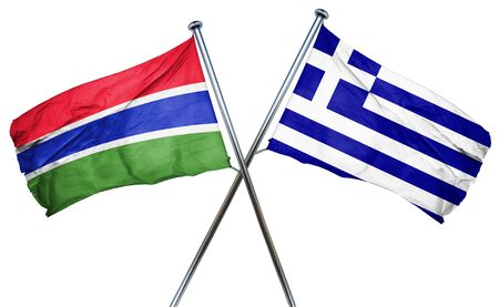 combined: Gambia flag combined with greek flag Stock Photo
