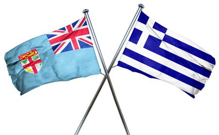 isolation backdrop: Fiji flag combined with greek flag