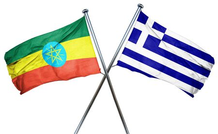 ethiopia  flag: Ethiopia flag combined with greek flag Stock Photo