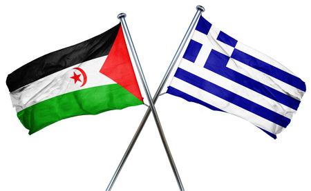 greek flag: Western sahara flag combined with greek flag Stock Photo