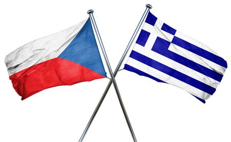 greek flag: czechoslovakia flag combined with greek flag Stock Photo