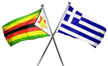 combined: Zimbabwe flag combined with greek flag Stock Photo