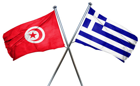 greek flag: Tunesia flag combined with greek flag Stock Photo