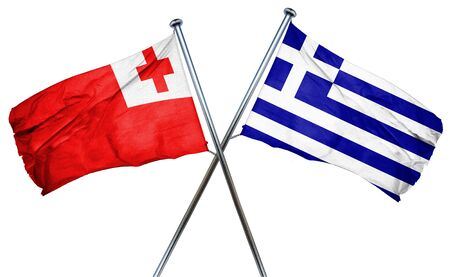 isolation backdrop: Tonga flag combined with greek flag