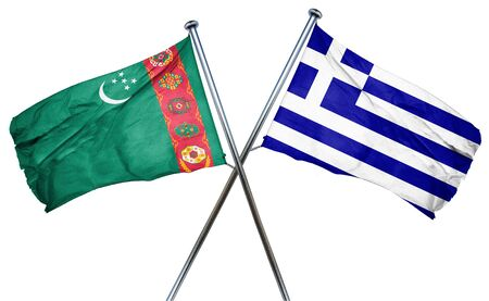 turkmenistan: Turkmenistan flag combined with greek flag Stock Photo