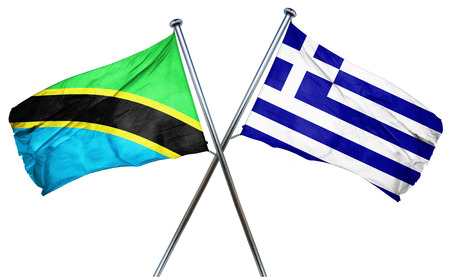 isolation backdrop: Tanzanian flag combined with greek flag
