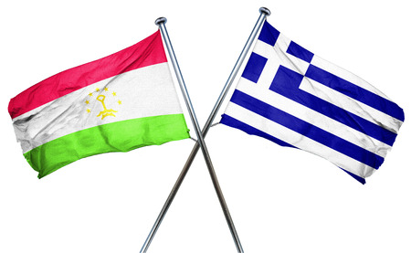 isolation backdrop: Tajikistan flag combined with greek flag Stock Photo