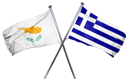 isolation backdrop: Cyprus flag combined with greek flag Stock Photo