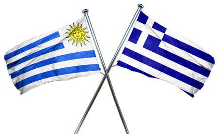 greek flag: Uruguay flag combined with greek flag Stock Photo