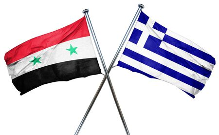 syria: Syria flag combined with greek flag
