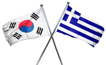 isolation backdrop: South korea flag combined with greek flag Stock Photo