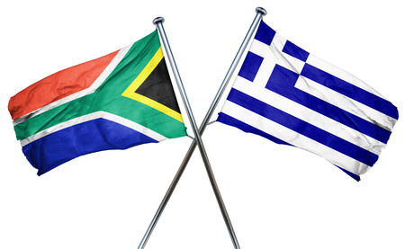 south africa flag: South africa flag combined with greek flag Stock Photo