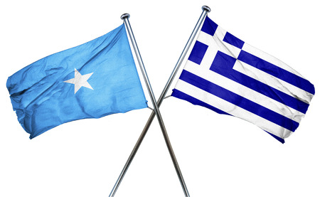 isolation backdrop: Somalia flag combined with greek flag