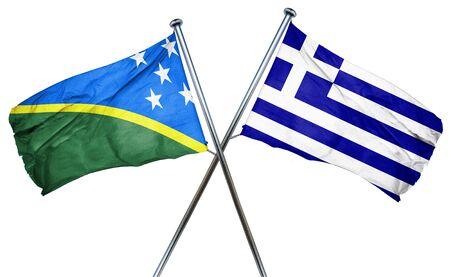 greek islands: Solomon islands flag combined with greek flag Stock Photo