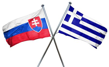 slovakia flag: Slovakia flag combined with greek flag Stock Photo
