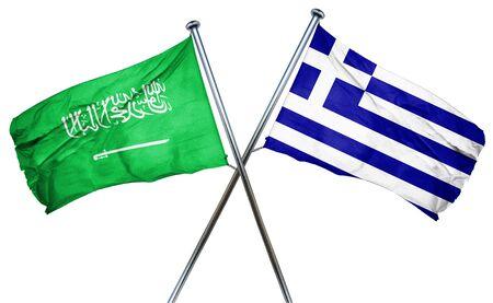 combined: Saudi Arabia flag combined with greek flag Stock Photo