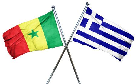 greek flag: Senegal flag combined with greek flag Stock Photo