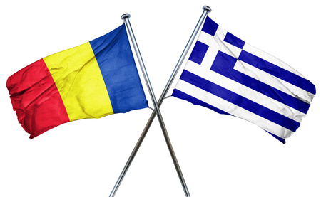 greek flag: Romania flag combined with greek flag