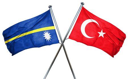turkey flag: Nauru flag combined with turkey flag Stock Photo
