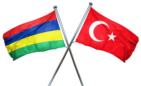 isolation backdrop: Mauritius flag combined with turkey flag Stock Photo