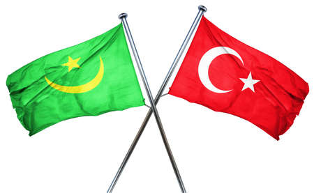 combined: Mauritania flag combined with turkey flag Stock Photo