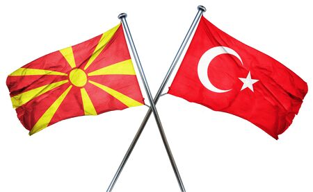 combined: Macedonia flag combined with turkey flag Stock Photo