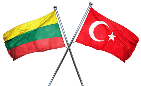 lithuania: Lithuania flag combined with turkey flag Stock Photo