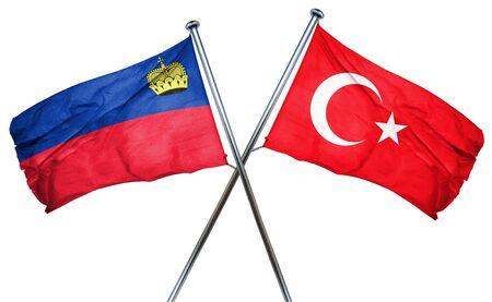 combined: Liechtenstein flag combined with turkey flag Stock Photo