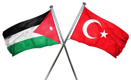 isolation backdrop: Jordan flag combined with turkey flag Stock Photo