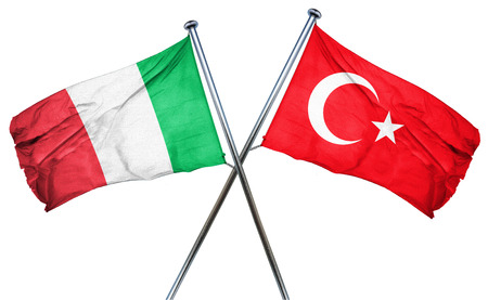 isolation backdrop: Italy flag combined with turkey flag