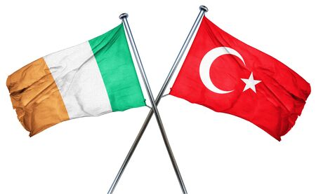 isolation backdrop: Ireland flag combined with turkey flag
