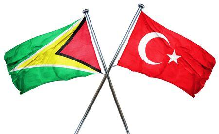 turkey flag: Guyana flag combined with turkey flag Stock Photo