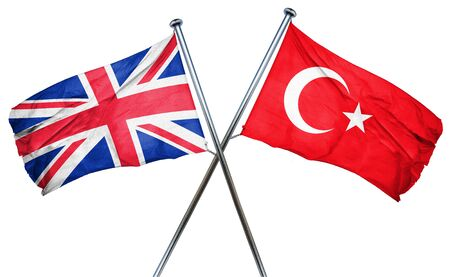 turkey flag: Great britain flag combined with turkey flag